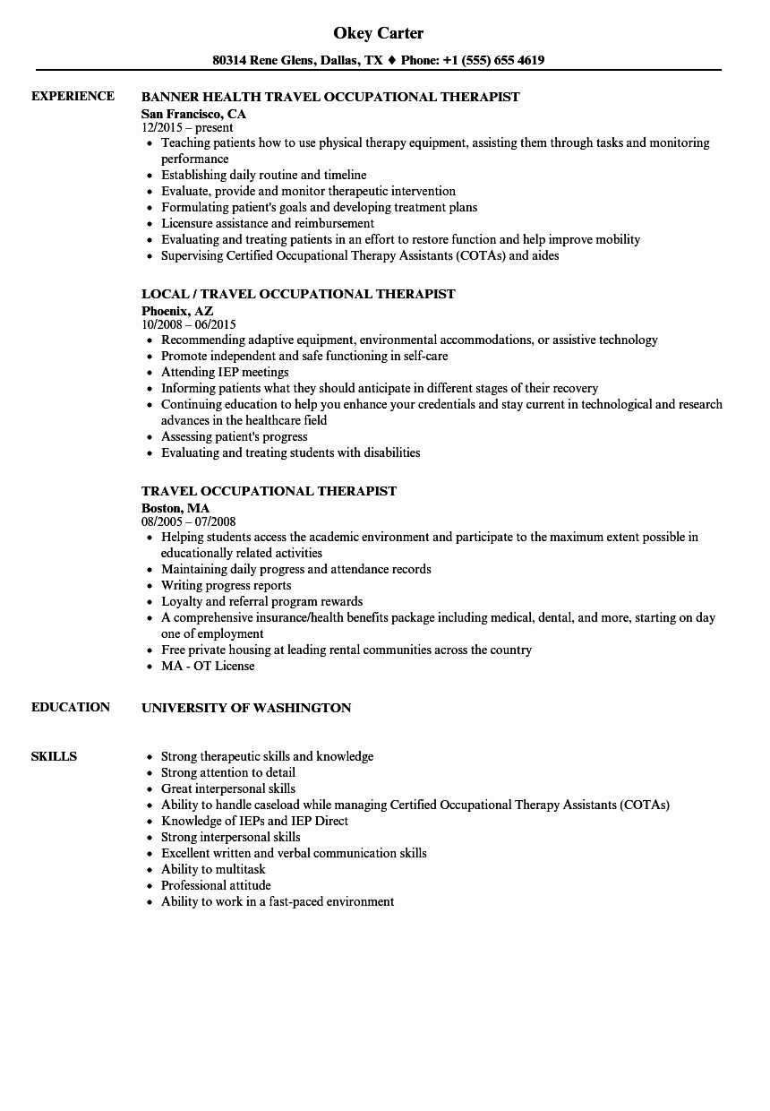 Travel Occupational therapist Resume Samples