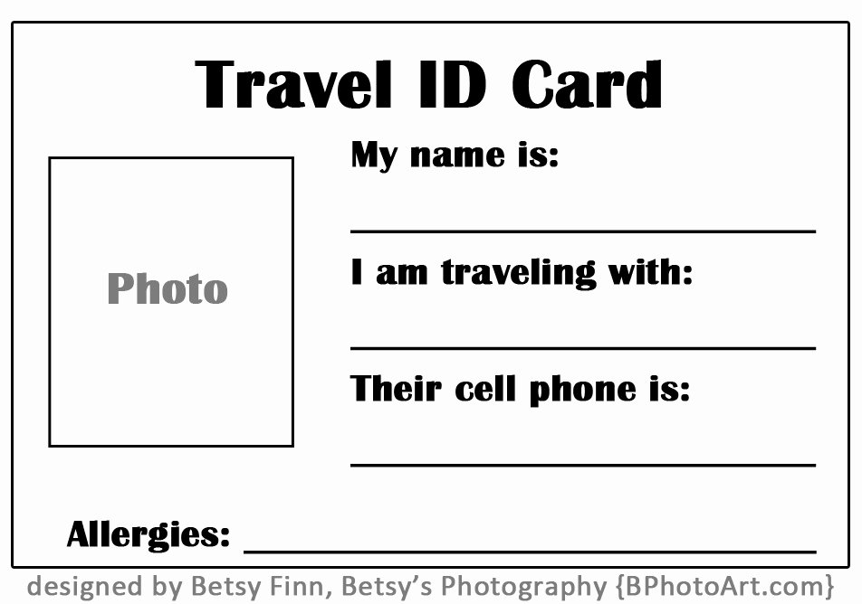 "Travel ""id"" Card for toddlers Free Printable ⋆ Betsys"