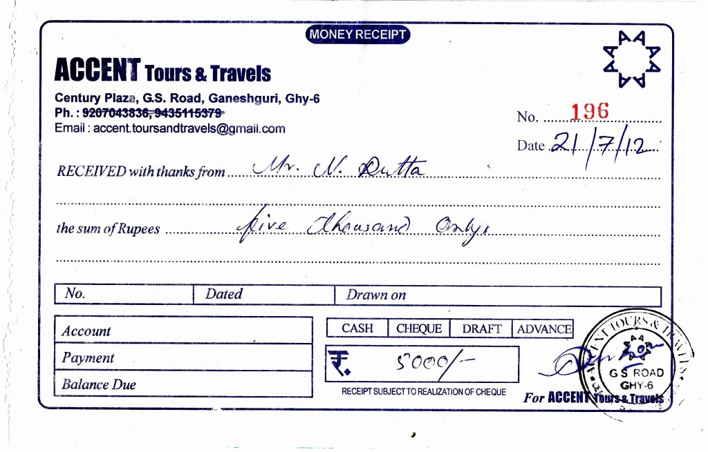 Travel Receipt format Nilim Dutta Accent tours Travels 2