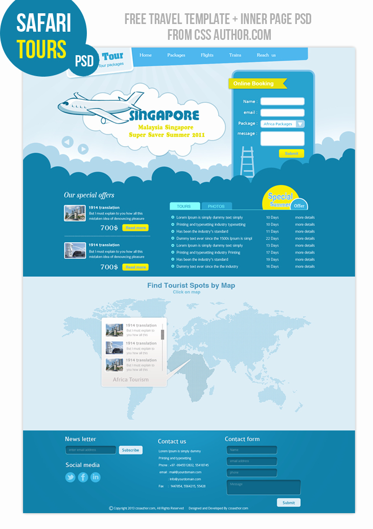 Travel Web Design Template Freebies Fribly