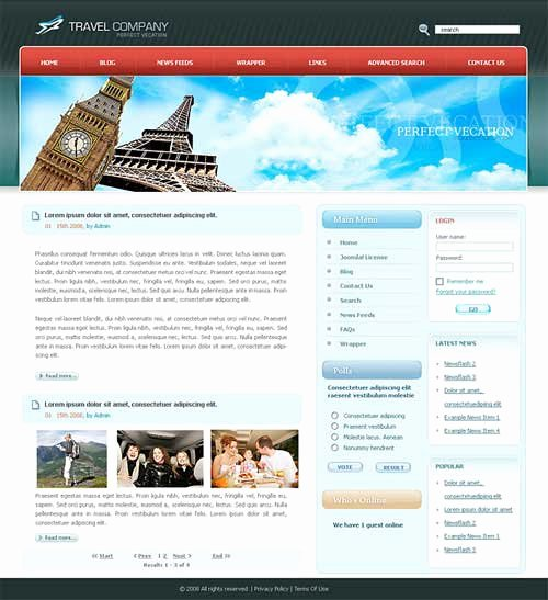 Travel Website Template 25 Designs to Download