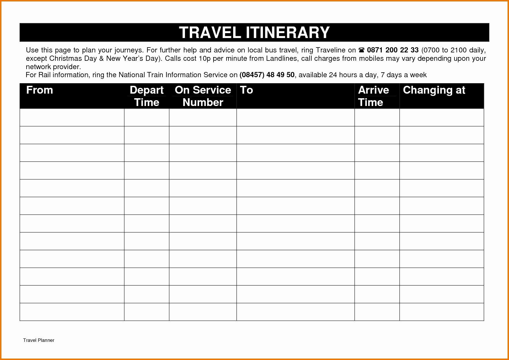 Travelspreadsheet Itinerary Template Google Docs Lavanc