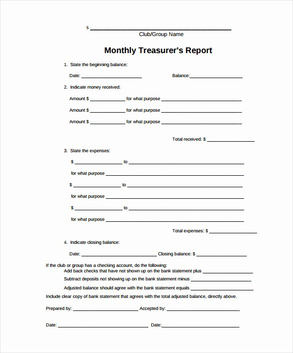 Treasurer Report Template 17 Free Sample Example