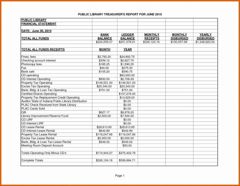 Treasurers Report Template Luxury Treasurer forms Excel