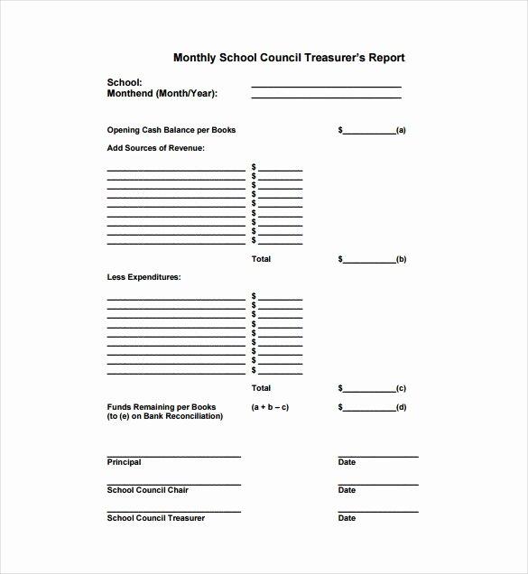 Treasurers Report Template Non Profit