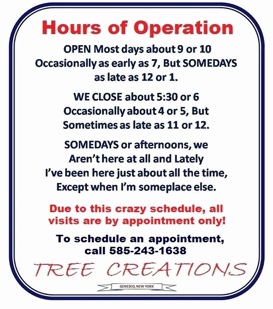Tree Creations In Geneseo Hours Of Operation