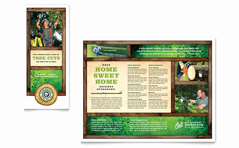 Tree Service Tri Fold Brochure Template Word & Publisher