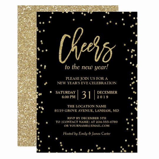 Trendy Gold Glitter Cheers New Year S Eve Party Card