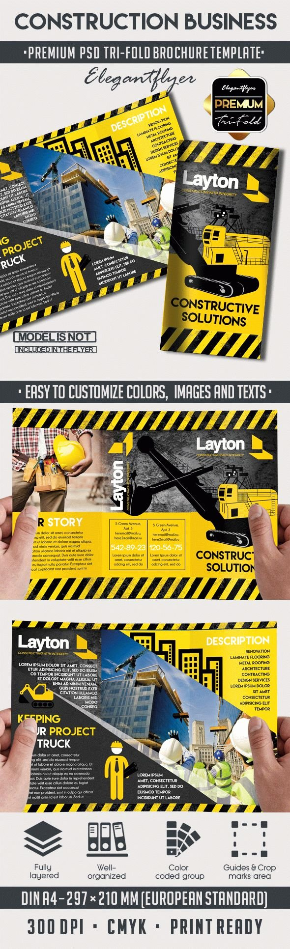 Tri Fold Brochure for Construction Business – by Elegantflyer