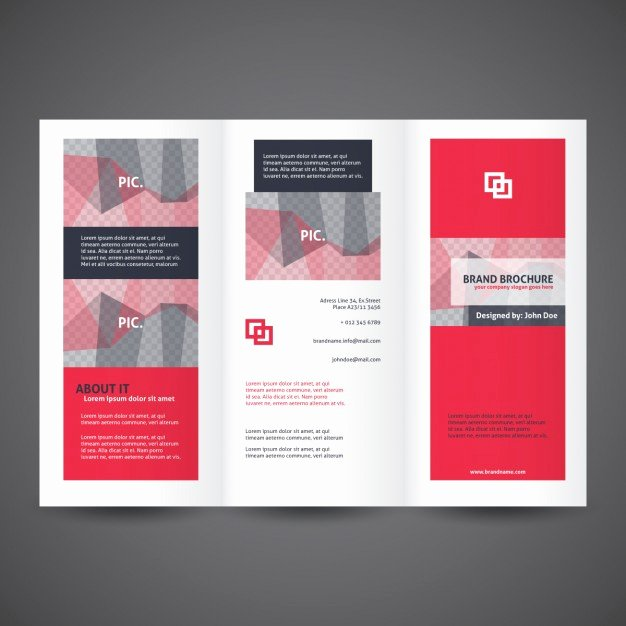 Tri Fold Brochures Templates Red Trifold Brochure Template