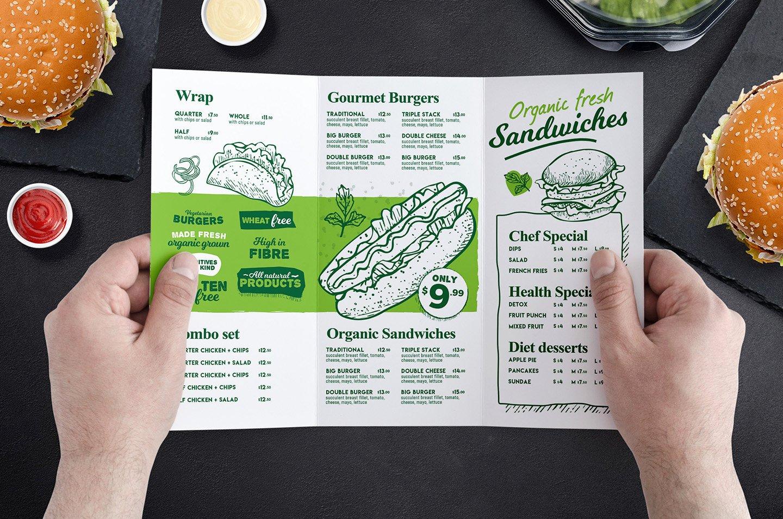 Tri Fold Burger Menu Template In Psd Ai & Vector Brandpacks