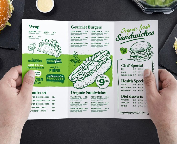 Tri Fold Burger Menu Template In Psd Ai & Vector Brandpacks