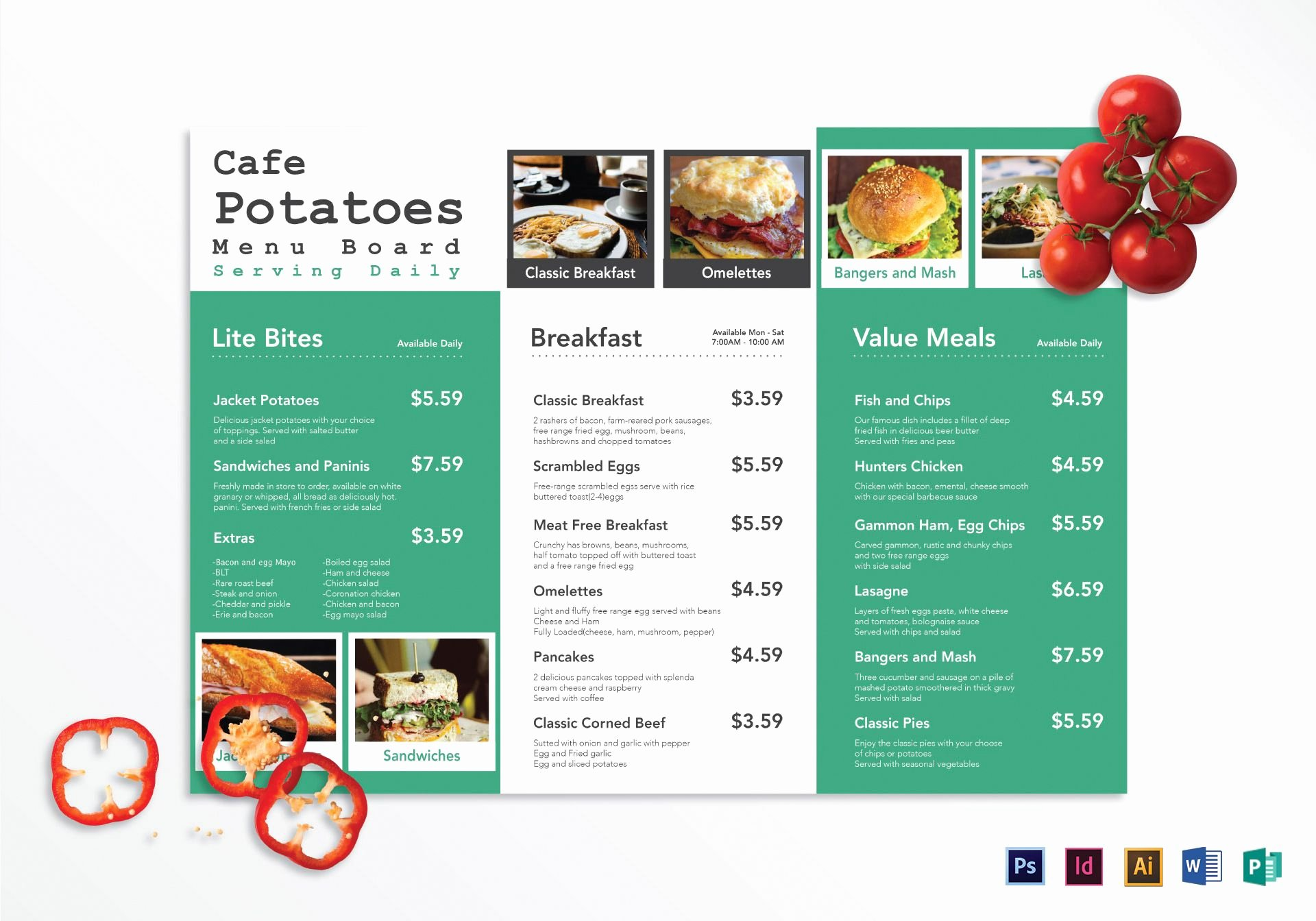 Tri Fold Cafe Menu Board Design Template In Psd Word