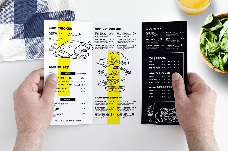 Tri Fold Food Menu Template for Restaurants In Psd Ai