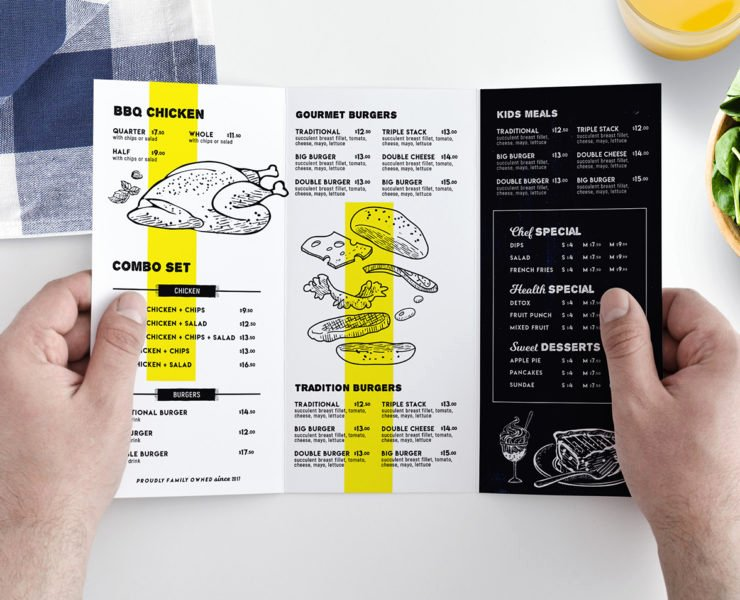 Tri Fold Food Menu Template for Restaurants In Psd Ai