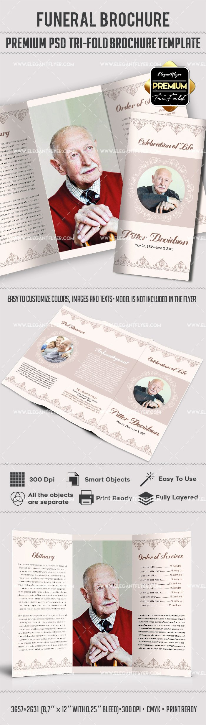 Tri Fold Funeral Service Brochure Template – by Elegantflyer