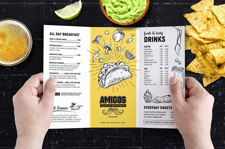 Tri Fold Mexican Restaurant Menu Template In Psd Ai