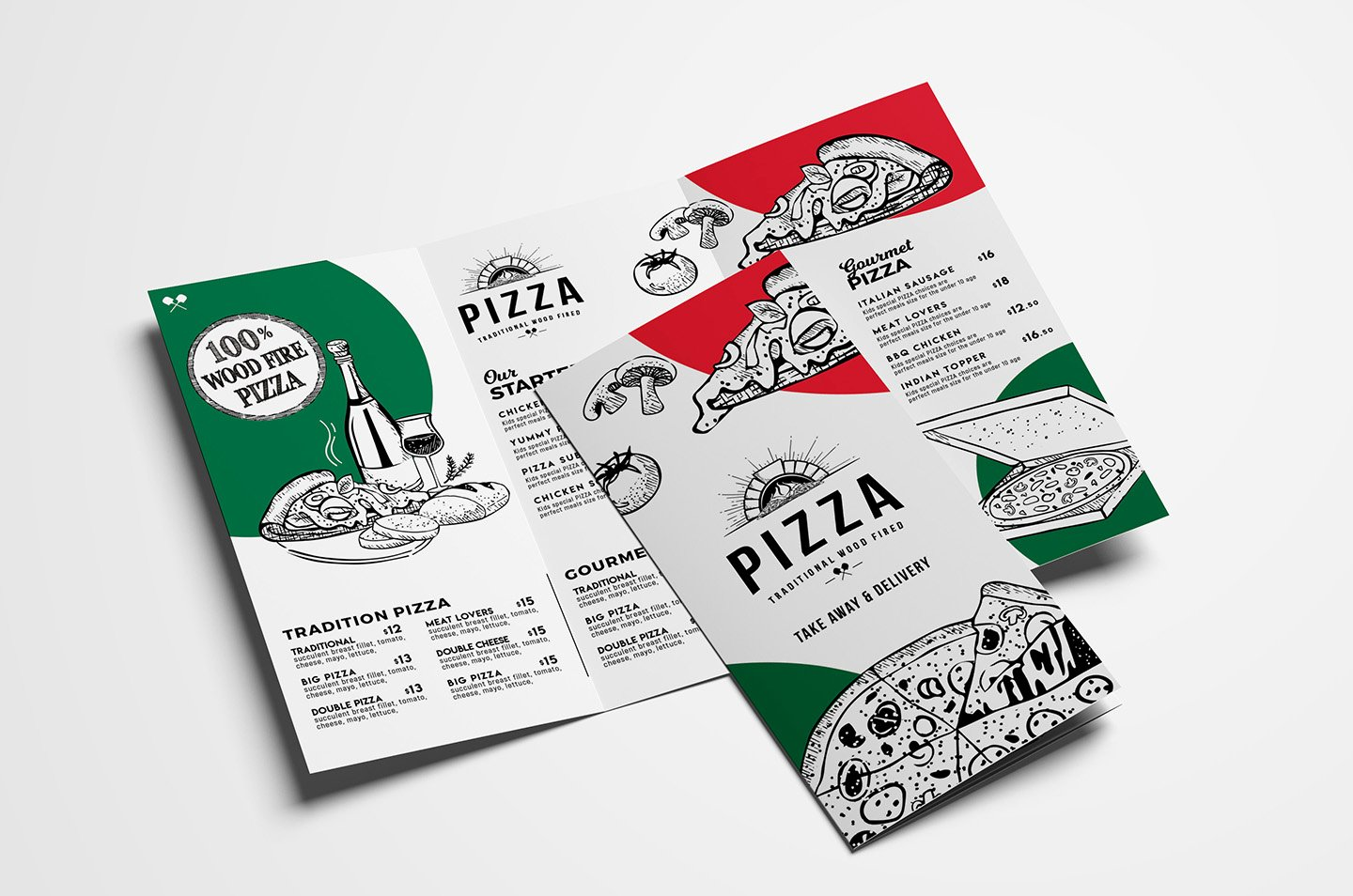 Tri Fold Pizza Menu Template In Psd Ai & Vector Brandpacks