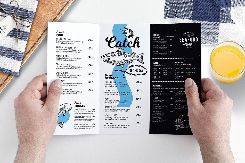 Tri Fold Seafood Menu Template Brochure Templates