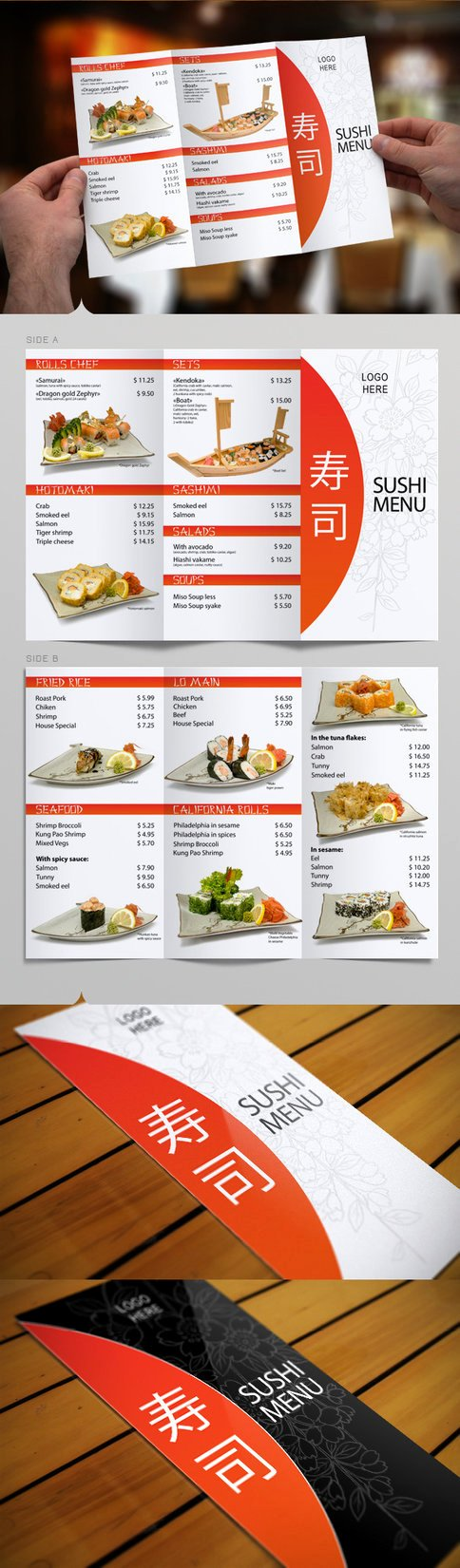 Tri Fold Sushi Menu Template by Itembridge On Deviantart