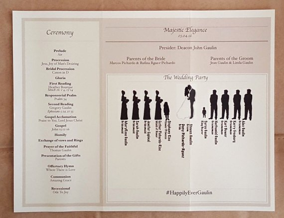 Tri Fold Wedding Program Template with Bridal Silhouette