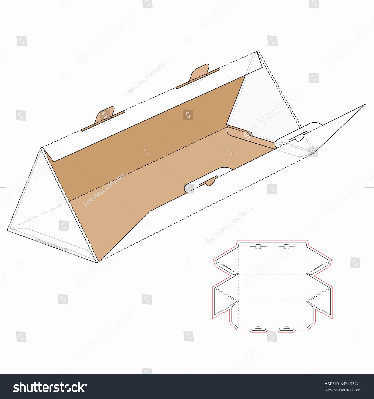 Triangular Box with Die Cut Template and Layout Stock