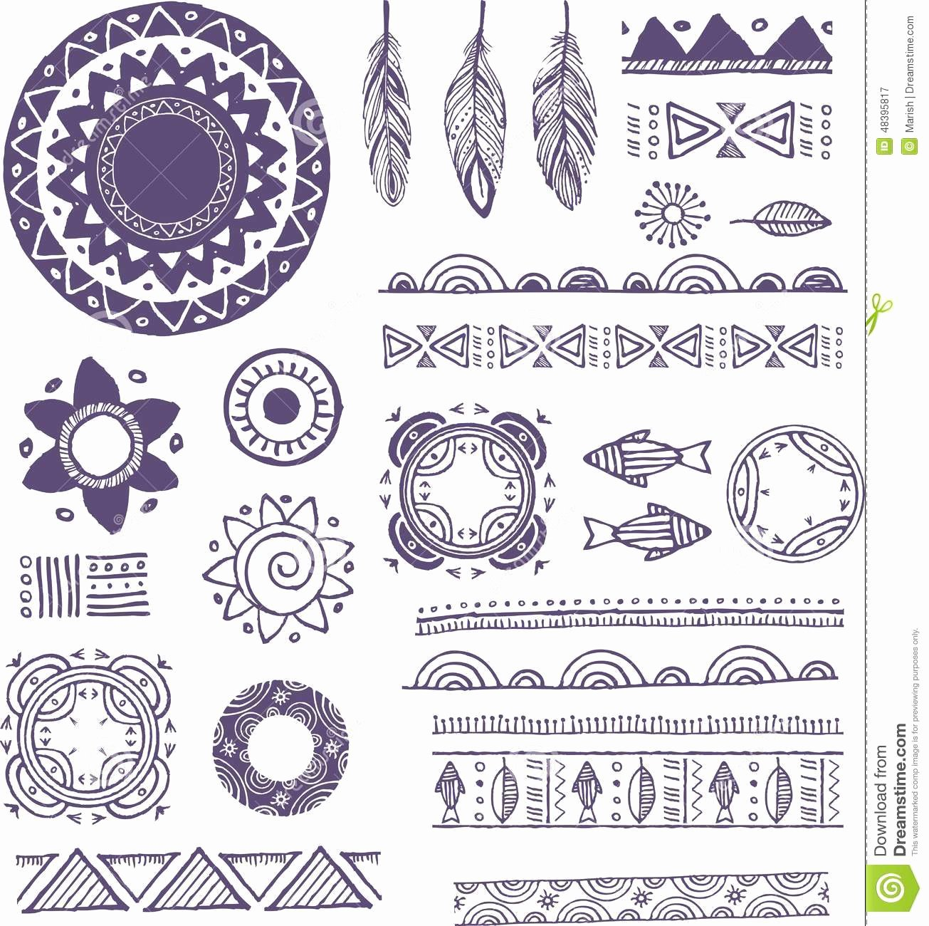 Tribal Bohemian Mandala Background with Round Stock
