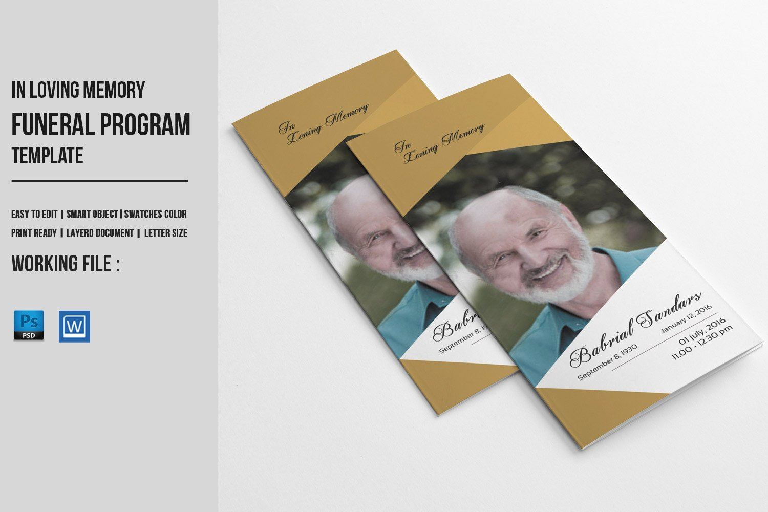 Trifold Funeral Program Template Memorial Obituary Service
