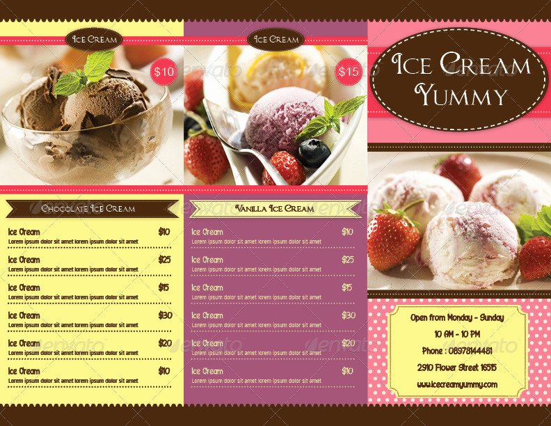 Trifold Ice Cream Menu Template by Avindaputri