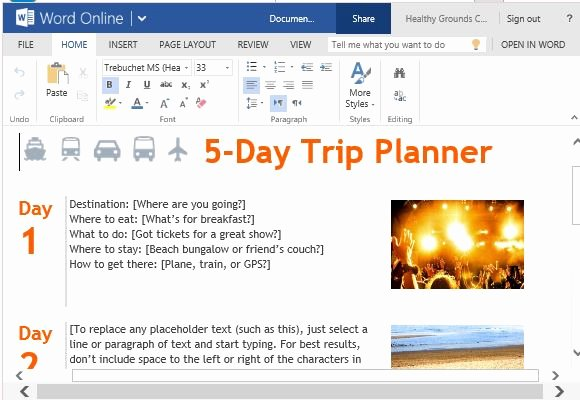 Trip Planner Template for Word Line