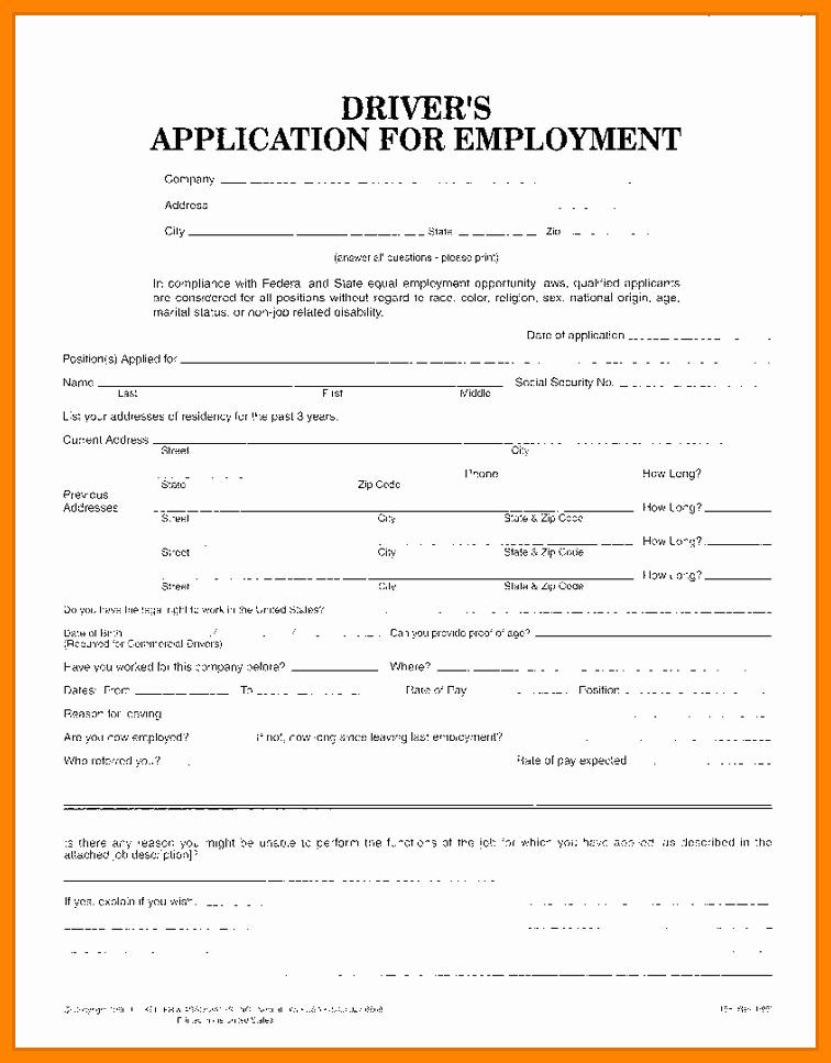 Truck Driver Employment Application form Template 7 Truck
