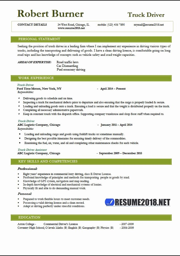 Truck Driver Resume 2018 Examples Resume 2018