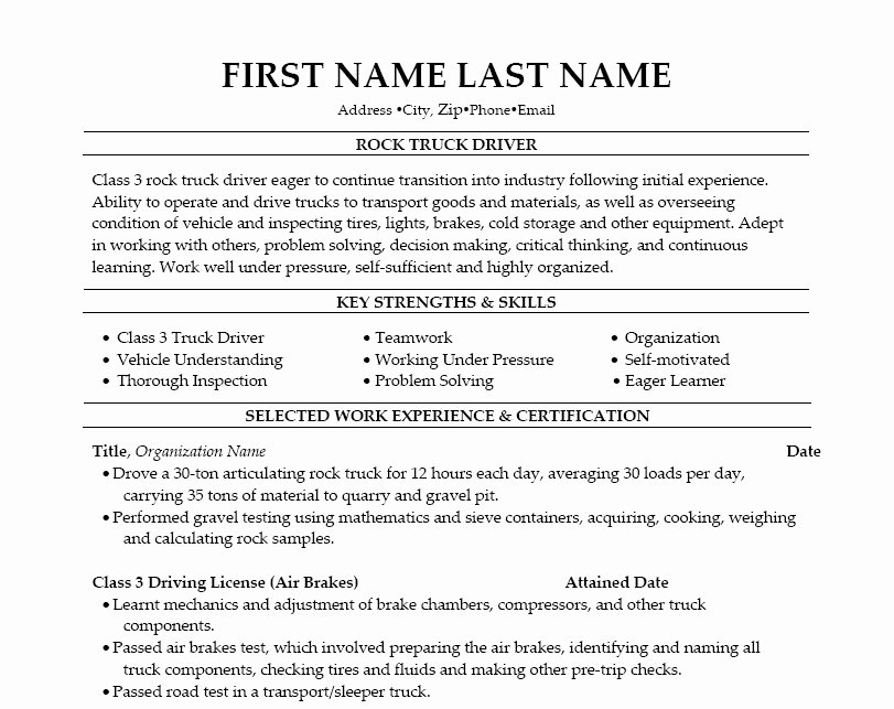 Truck Driver Resume Best Template Collection