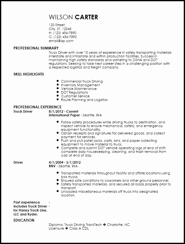 Truck Driver Resume F Resume