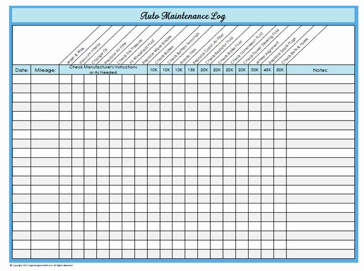 Truck Maintenance Schedule Excel Template