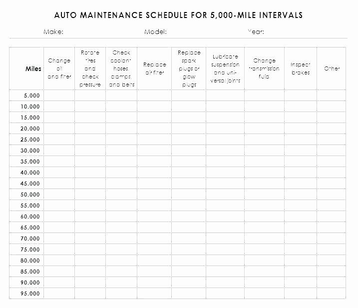 Truck Maintenance Schedule Template Unique Fleet Vehicle