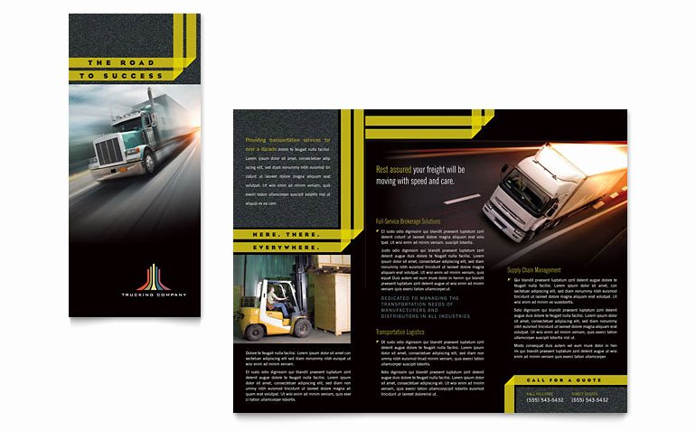Trucking & Transport Tri Fold Brochure Template Word