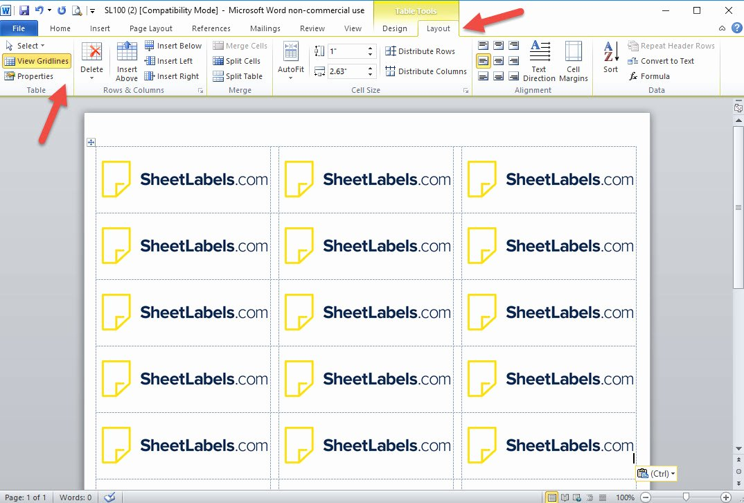 Turn the Gridlines In Microsoft Word for Printing