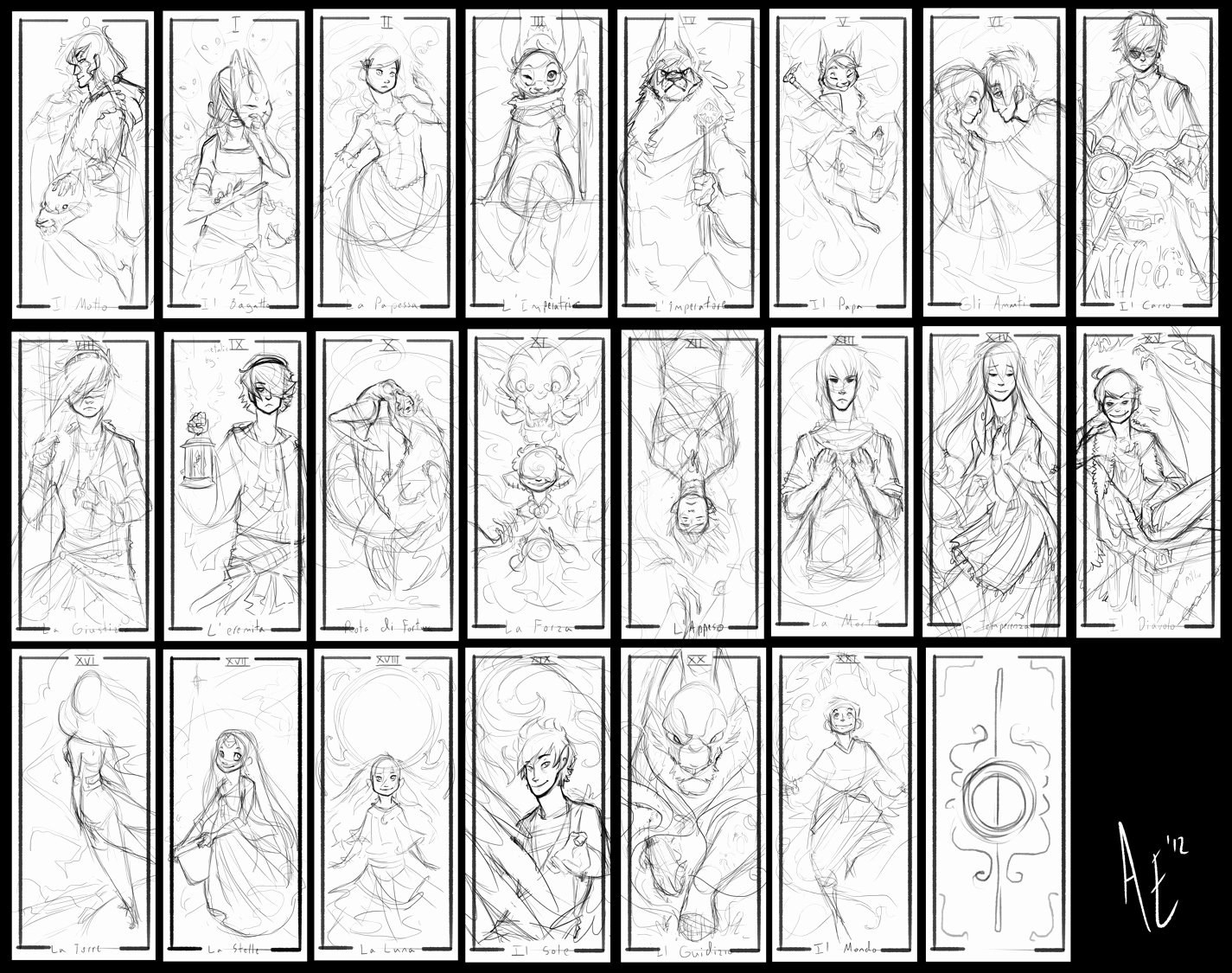 Turtle Tarot Rough Sketches by Turtle Arts On Deviantart