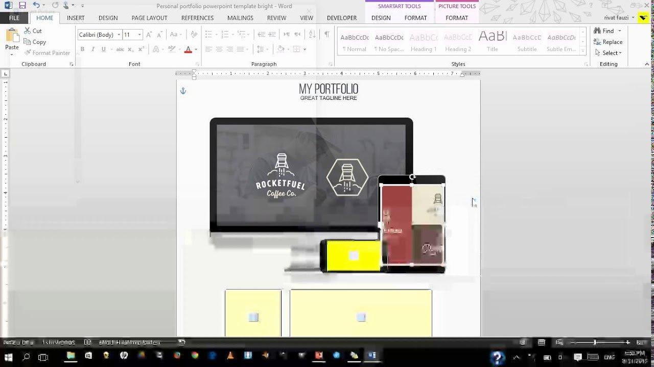 Tutorial Edit Personal Portfolio Powerpoint Template Word