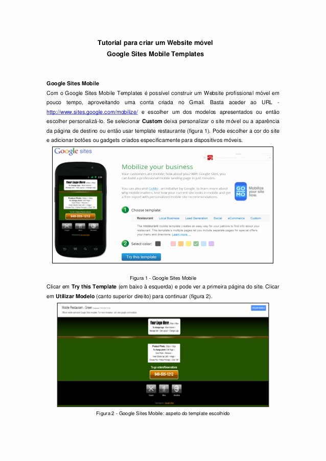 Tutorial Google Sites Mobile Templates