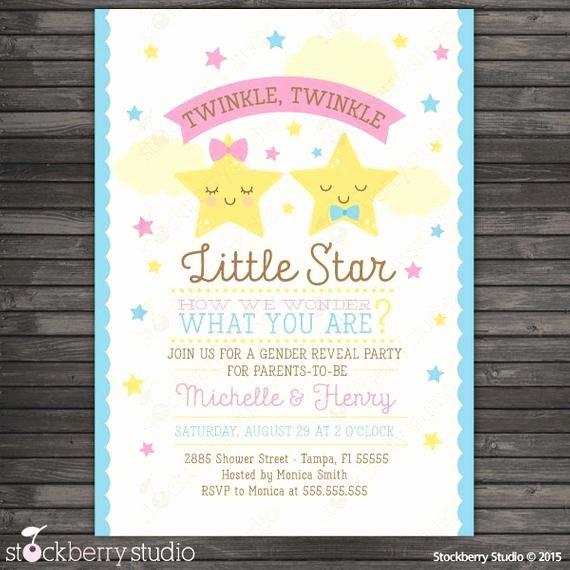 Twinkle Twinkle Little Star Gender Reveal Invitation Printable