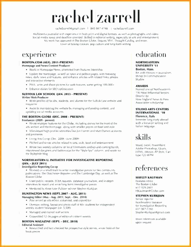 Two Column Cover Letter 2 Resume Template Lovely Examples