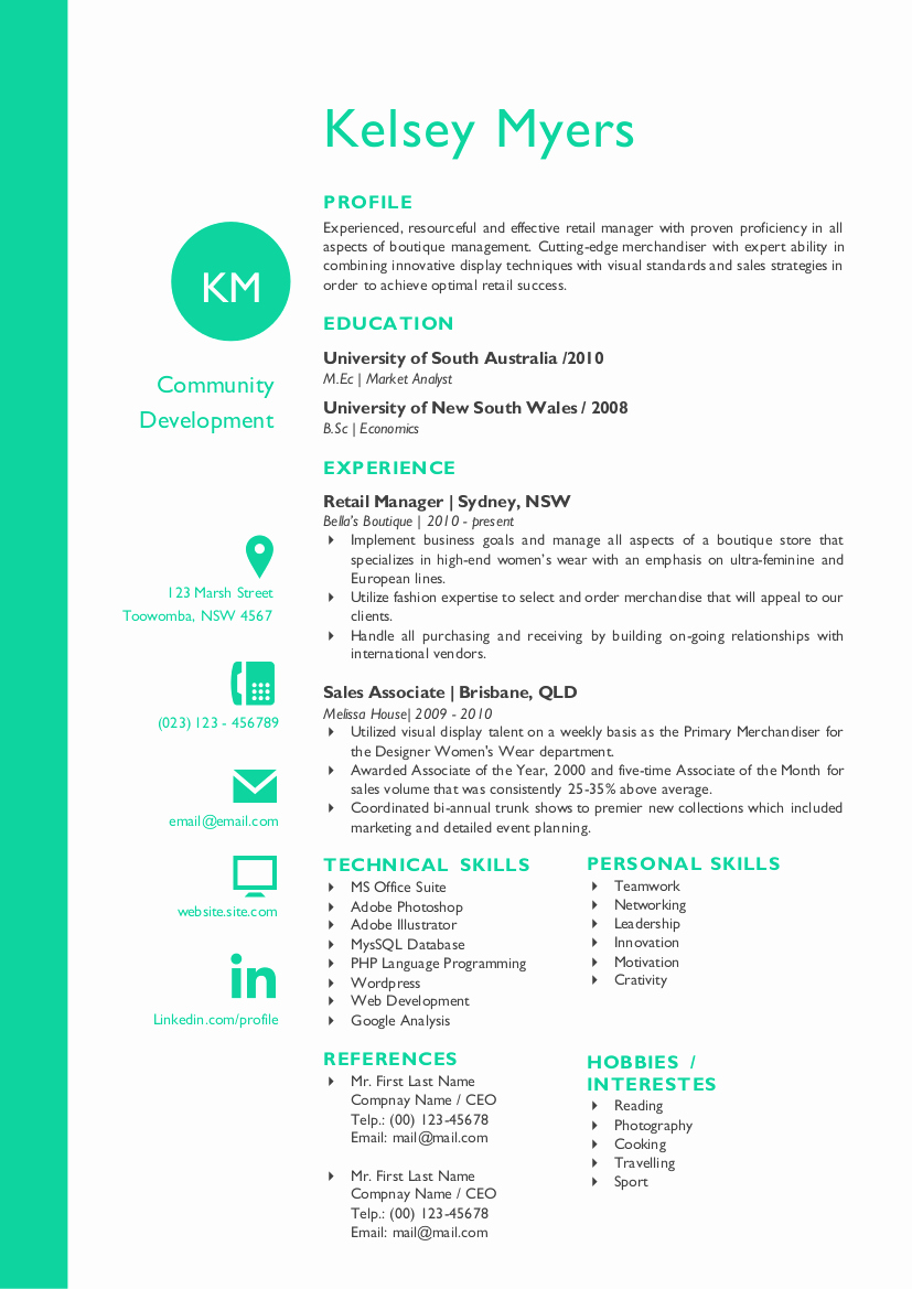 Two Columns Round Initials Resume Resume Templates On