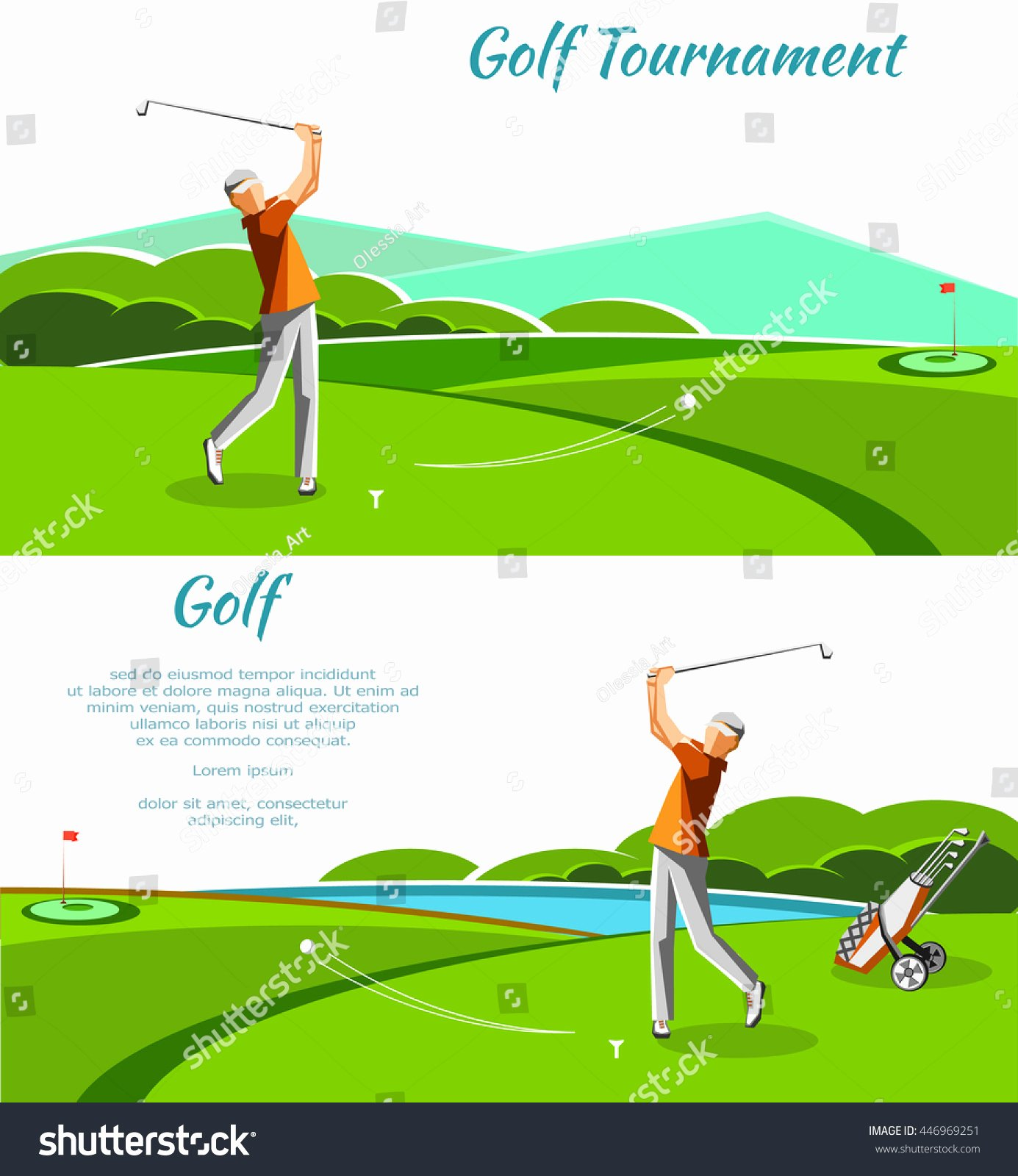 Two Golf Club Petition tournament Banners Stock Vector