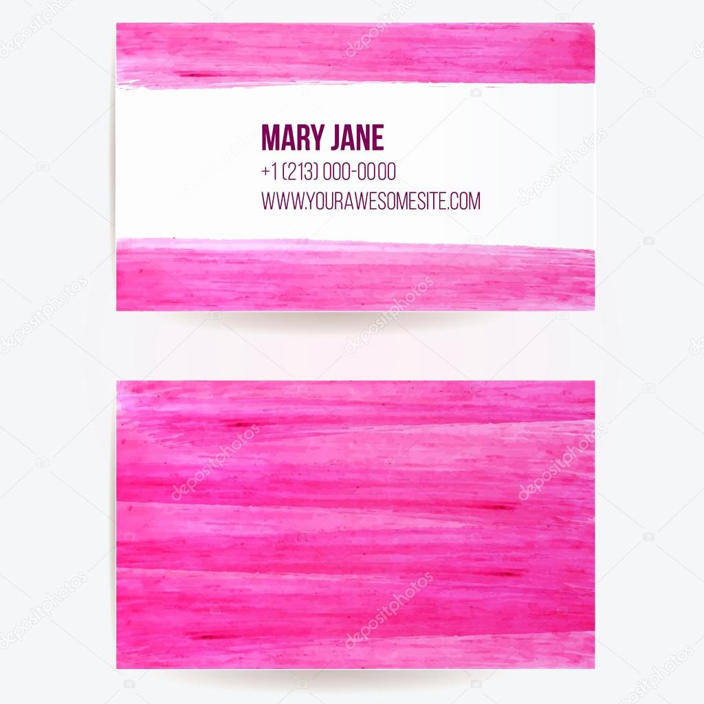 Two Sided Business Card Template with Pink Paint Strokes
