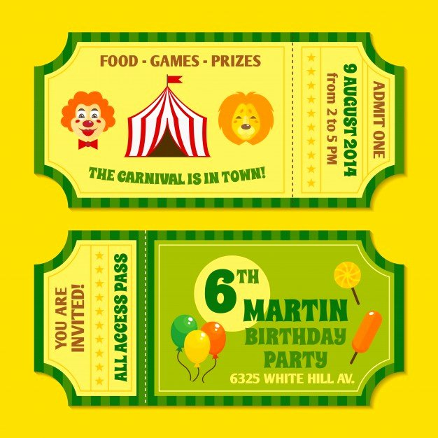Two Vintage Circus Carnival Birthday Party Invitation
