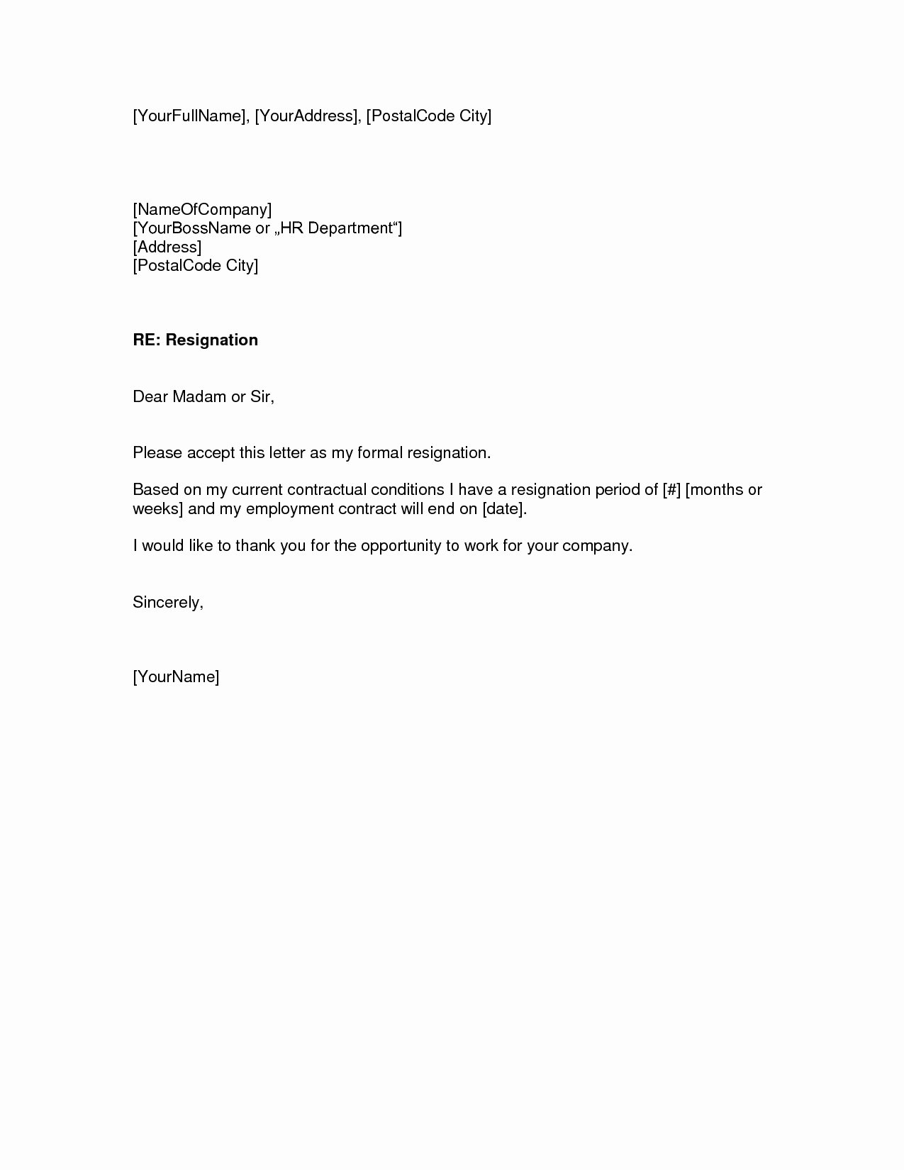 Two Weeks Notice Letter – Download Pdf Doc format
