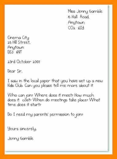 Types Letter Writing