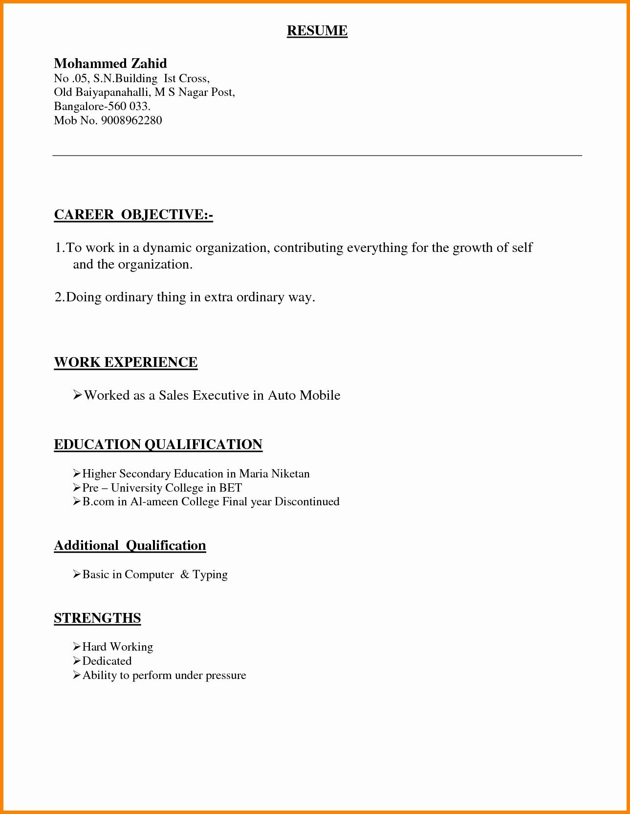 Types Resume format Bongdaao
